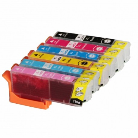 ECOPACK 6 CARTOUCHES B/C/Y/M + PC/PM Type EPSON T2431/32/33/34/35/36