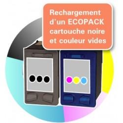 RECHARGEMENT ECOPACK 2 CARTOUCHES D'ENCRE Type HP 21xl et HP 22xl