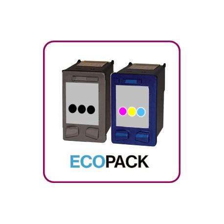 RECHARGEMENT d'un ECOPACK 2 CARTOUCHES D'ENCRE Type HP 300xl noire et couleurs