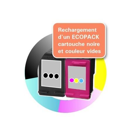 RECHARGEMENT ECOPACK 2 CARTOUCHES D'ENCRE Noir + tricolor Type HP 301xl
