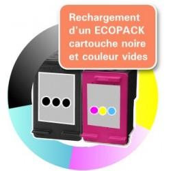 RECHARGEMENT ECOPACK 2 CARTOUCHES D'ENCRE Type HP 62xl noire et tricolor